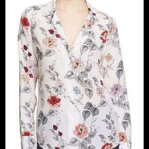 Equipment adalyn floral silk button up shirt m